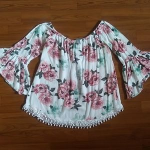 Charlotte russe off the shoulder floral top EUC